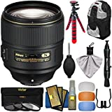 Nikon 105mm f/1.4E AF-S ED Nikkor Lens 3 UV/CPL/ND8 Filters + Backpack + Tripod + Flash Diffuser Filters + Kit