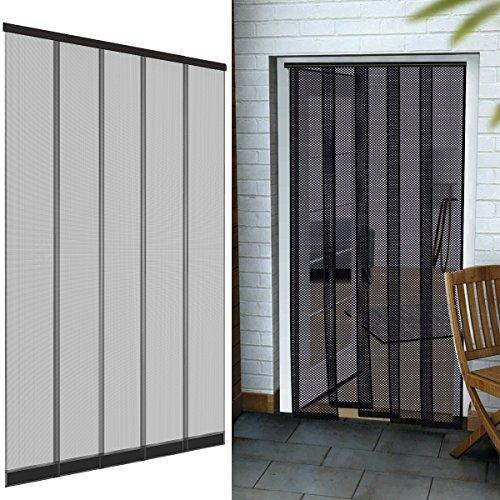 Premium Insektenschutz Lamellenvorhang Fiberglas für Türen 125 x 240 cm aus in anthrazit Türvorhang eingenähte Gewichte + selbstklebende Klemmleiste