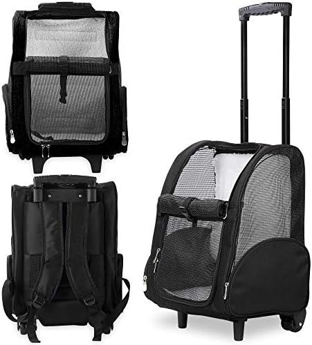 Mochila de viaje de lujo para mascotas con ruedas dobles color negro aprobado por la mayoría de aerolíneas 1