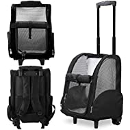 Kundu Deluxe Backpack Pet Travel Carrier with Double Wheels - Black - Approved by Most Airlines