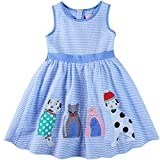 Sharequeen Blue Lovely Striped Tank Sleeveless O-Neck Short Dress for Big Girls A090 (Blue Stripe, 7-8 Years)