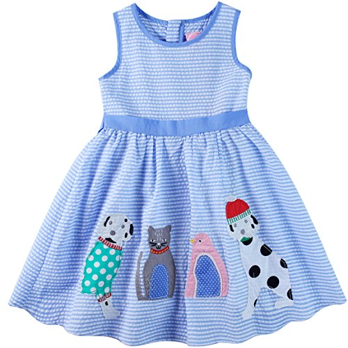 Sharequeen Cotton Big Girls Birthday Dress Dog Bird Cat Embroidery Blue Stripe