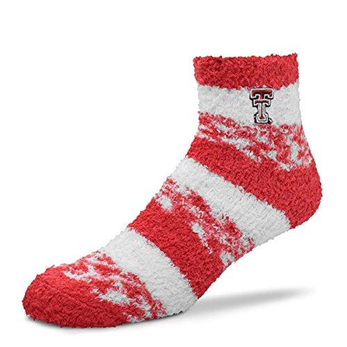(For Bare Feet NCAA RMC Pro Stripe Fuzzy Sleep Soft Sock -Texas Tech Red Raiders-Size-Medium)