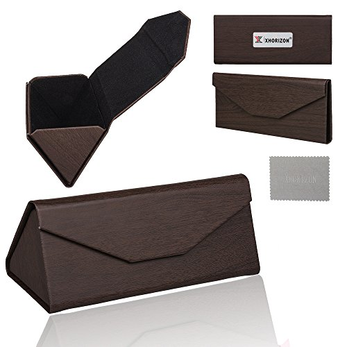 xhorizon TM SR PU Leather Magnet Wood Pattern Triangular Folding Sunglasses Eyeglasses Case Storage Box Eyeglasses Storage Case Fashionable Eyewear Case Sunglasses Eyewear Folding - Case Sunglasses Velvet Folding