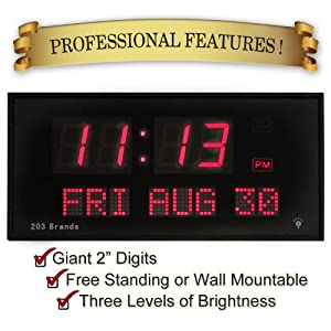 Candlewood Homegoods 16-Inch Digital LED Calendar Clock