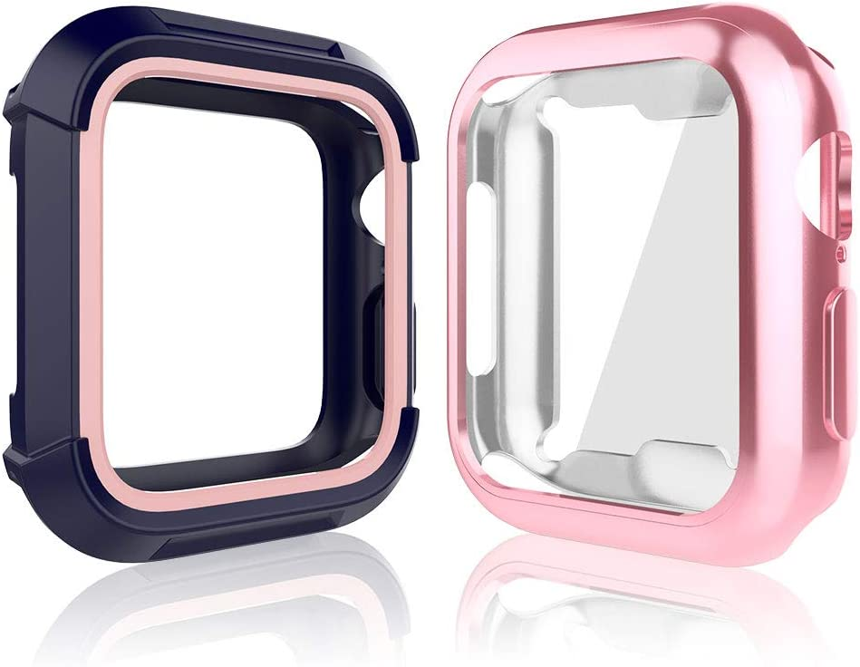 Compatible with Apple Watch Series 6 SE Series 5 Series 4 44mm, Toward Rugged Shock Proof Bumper Cover with Soft TPU Screen Protector Case (Blue Pink + Rose Gold, 44mm)