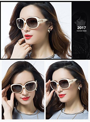 4b8215b51a Duco Women s Shades Classic Oversized Polarized Sunglasses 100% UV  Protection 6214 Beige Frame Brown Lens