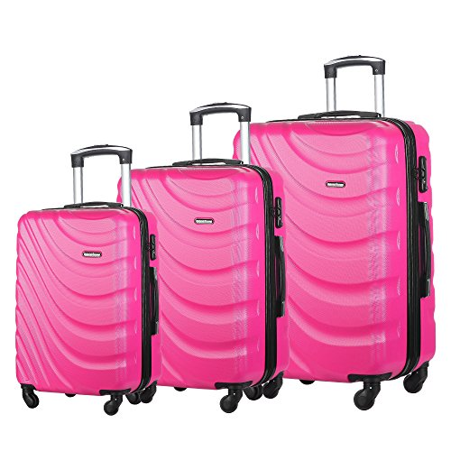 Hot Pink Hard Case - 3 PC Luggage Set Durable Lightweight Hard Case pinner Suitecase LUG3 LY43 HOT PINK