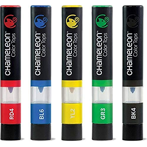 Chameleon Art Products, Primary Tones, Color Tops, Quick and Easy Blending - Set of 5