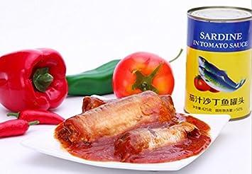 sardinas en lata en salsa de tomate 12 latas de peso neto total de 5100 gramos (latas), 425gX12 mariscos del Mar del Sur de China Nanhai: Amazon.es: Hogar