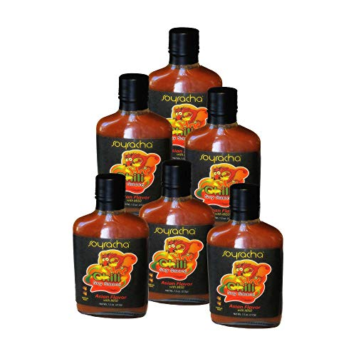 SOYRACHA Hot Chili Soy Sauce (SIX FLASKS) - Asian Flavor with Miso - Perfect Spicy Flavor for Stir-Fry, Grilled Food, Meat, Fish, Poultry - SIX 7.5 oz Flasks - Made - Sauce Tofu Soy