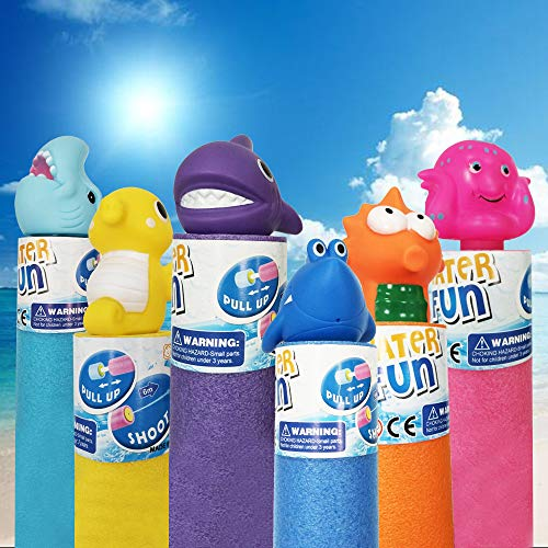 Water Guns for Kids 6 Pack Foam Water Blaster Set, Squirt Gun Shooter Swimming Pool Pump Foam Water Soaker Blasters Soaker Summer Beach Toys Outdoor Pool Toys for Kids and Adults