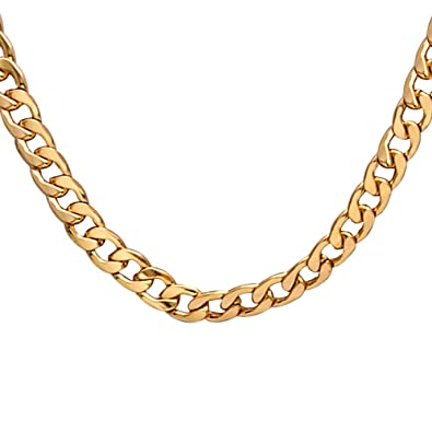 e5f9c3a6faef1 Men Gold Necklace Chain, Gold Plated Figaro Chain Link, Stainless Steel 8mm  Wide Curb Hip Hop Chian Necklace 24Inch | Amazon.com