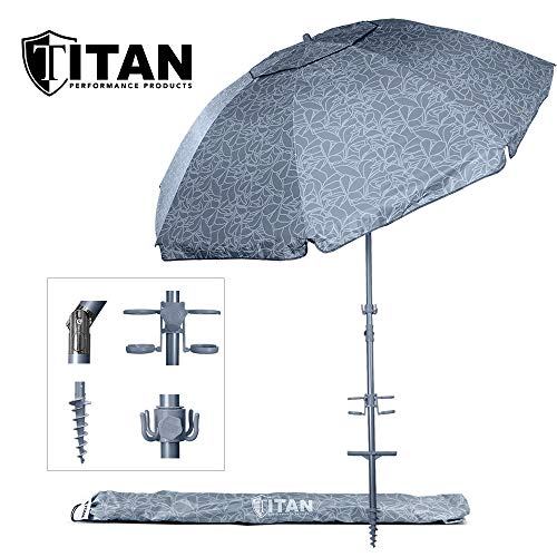 Titan 8 Foot Beach Umbrella with Sand Anchor | Fully Telescoping | UPF 50 Plus Rating | Tilting 2 Piece Design | Includes Cup Holders, 4 Prong Hanging Hook, Corkscrew Anchor, and Carrying Bag