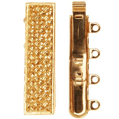 Slide Box Clasp (23K Gold Plated 4-Strand Box Clasp - Rectangle With Crosshatch Design 10x25mm)