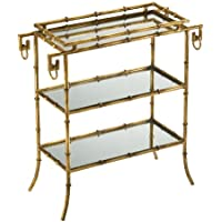 Hollywood Regency Gold Leaf Gilt Bamboo Mirror End Table
