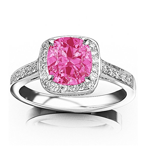 Tw Pink Cushion Cut Ring - 0.73 Carat t.w Platinum Classic Square Halo Single Row Pave Set Diamond Engaement Ring w/a 0.5 Carat Cushion Cut Pink Sapphire Heirloom Quality
