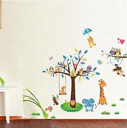 Muurstickers Kinderkamer Uil.Moderne Muursticker Zachte Kleuren Boom Olifante Mier Wasbeer