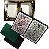 2 Free Cut Cards + Kem Jacquard (Burgandy/Green) Poker Regular Index