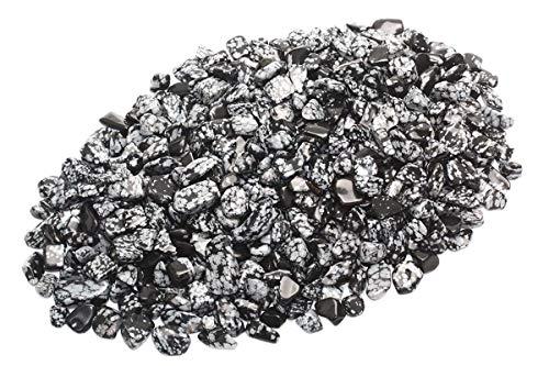 ZenQ 1 lb Snowflake Obsidian Tumbled Stone Chips Crushed Natural Crystal Quartz Pieces (Snowflake Obsidian Stone)