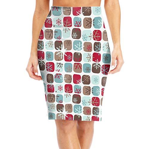 XSBSQ88N Seventies Christmas Pattern Pattern Sexy High Waist Skirt, Women's Tight High-Waisted Skirt White]()