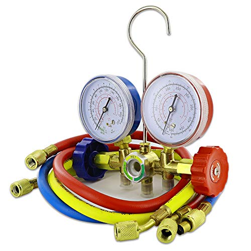 Manifold AC Diagnostic Refrigerant Adjustable with Hoses Coupler and Can Tap Adapters Two Waym Brass Freon Charging - By Ram-Pro