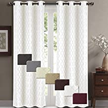 Willow Jacquard White Grommet Blackout Window Curtain Panels, Pair / Set of 2 Panels, 42x84 inches Each, by Royal Hotel