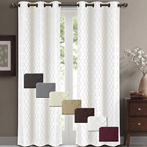 Wonderful Willow Jacquard White Grommet Blackout Window Curtain Panels, Pair / Set Of  2 Panels, 42x96 Inches Each, By Royal Hotel