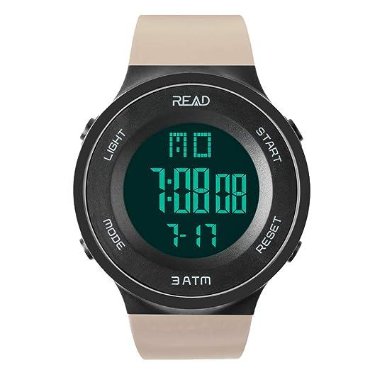 Reloj Deportivo, Impermeable, cronógrafo, Alarma, Fecha automática, cronómetro, Calendario Completo, Resistente al Agua, retroiluminación: Amazon.es: ...