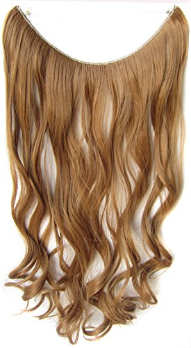 Simpleyourstyle 22inch / 55cm One Piece Curly Synthetic FISH LINE HAIR Extension Flip in #27
