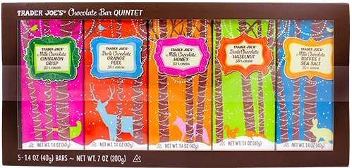 - Trader Joe's Chocolate Bar Quintet - includes Cinnamon Crisp, Orange Peel, Honey, Hazelnut and Toffee Sea Salt