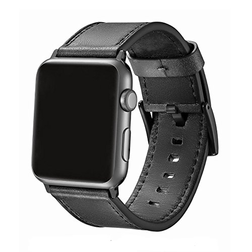 SWAWS Compatible/Replacement for Apple Watch Band 44mm 42mm,Black Gray Leather iWatch Band for Apple Watch Series 4 Series 3 Series 2 Series 1 Sport and Edition Men Women