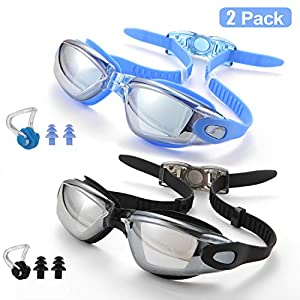 2 Pack Swimming Goggles for Adults Anti-Fog Leak Proof UV Protection Men Women