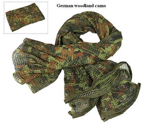 Tactical Mesh Net Camo Scarf For Wargame,Sports & Other Outdoor Activities (German (German Camouflage)