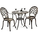 Best Choice Products Cast Aluminum Patio Bistro Table Set w/Attached Ice Bucket, 2 Chairs - Copper