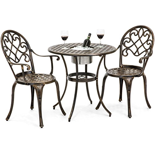 Best Choice Products Cast Aluminum Outdoor Patio Bistro Table Set w Attached Ice Bucket, 2 Chairs, Copper Finish