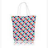 Canvas Tote Bag Colorful Mosaic Tiles Oriental Asian Islamic Ikat Indonesian Patterns Motifs Decorative Zipper Closure Grocery Shopping Bag Shoulder Bag for Women Girls Students W16.5xH14xD7 INCH