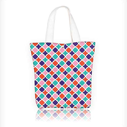 Canvas Tote Bag Colorful Mosaic Tiles Oriental Asian Islamic Ikat Indonesian Patterns Motifs Decorative Zipper Closure Grocery Shopping Bag Shoulder Bag for Women Girls Students W16.5xH14xD7 INCH by Muyindo