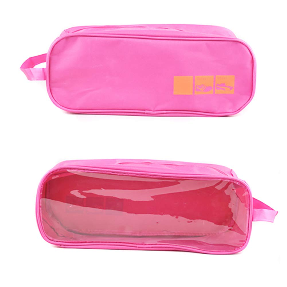 Travel Shoe Bags Breathable Waterproof Shoe Storage Bags Clear Visible Zippered Packing Cubes Luggage Shoes Organizer(Pink)