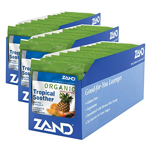 Zand HerbaLozenge Organic Tropical Soother | Throat Lozenges w/VIT. C & Zinc for Immune Support | No Corn Syrup or Cane Sugar | 1 Bag, 18ct.
