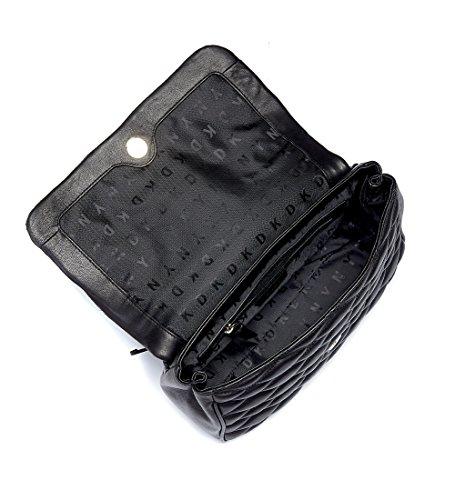 Borsa a mano DKNY in pelle matelassè nera con impunture