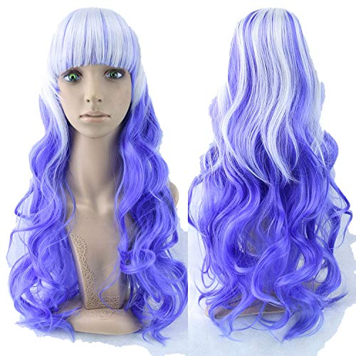 70cm Long Women Hair High Temperature Fiber Wigs Pink Blue Synthetic Hair -
