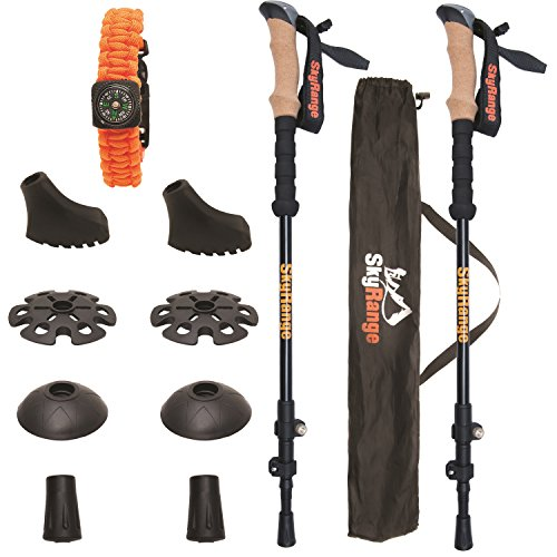100% Carbon Fiber Trekking Poles by SkyRange: Ultralight, Strong, Telescopic Black Walking Sticks with Cork Handles plus Free Bag and Survival Bracelet