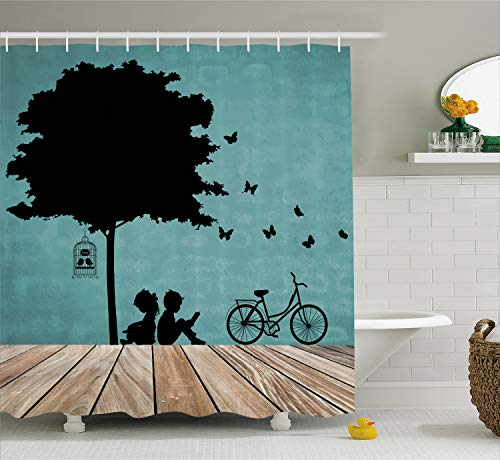 Ambesonne Nature Shower Curtain, Boy and Girl Children Reading Under a Tree with a Bird Cage Bicycle, Cloth Fabric Bathroom Decor Set with Hooks, 75