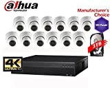 Dahua 16 Channel 4K Package: Dahua 4K NVR4416 W/3TB 16POE + 12 x HDW1320S 3MP Indoor/Outdoor Dome Camera