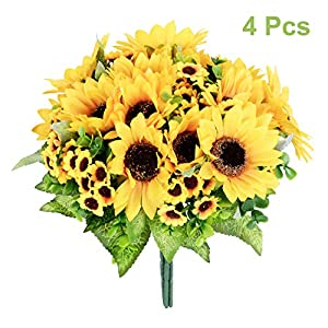 Artiflr 4pcs Artificial Sunflowers Bouquet, Wedding Flower Bouquet Sunflower Yellow Sunflower Silk Flower Arrangement for Home Kitchen Floor Garden Wedding Decor 87