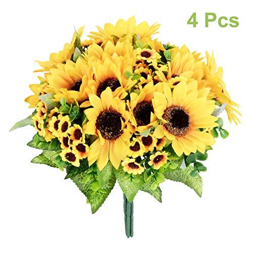 Artiflr 4pcs Artificial Sunflowers Bouquet, Wedding Flower Bouquet Sunflower Yellow Sunflower Silk Flower Arrangement for Home Kitchen Floor Garden Wedding Decor