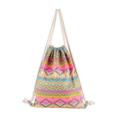Farway Ethnic Drawstring Bag Outdoor Backpack Shopping Backpack Travel Shoulder Bag