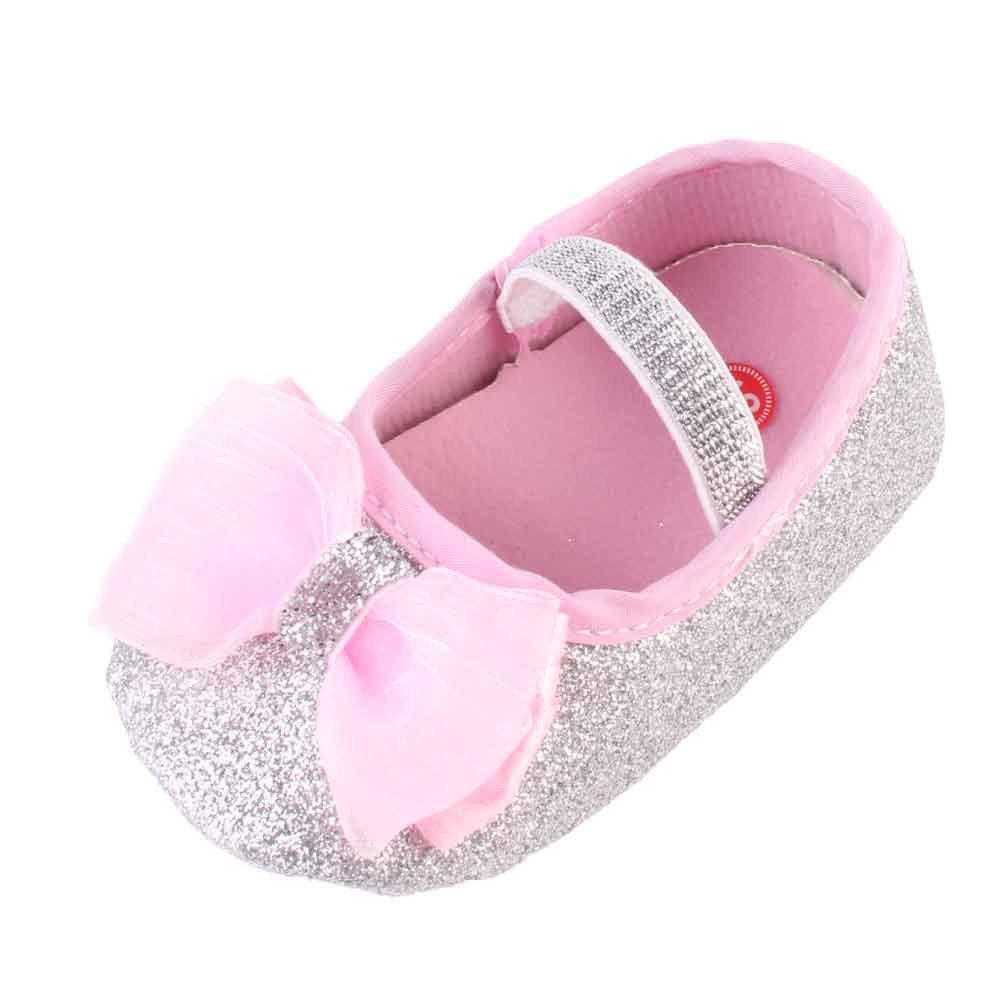 CYCTECH Newborn Girl Bowknot Shoes Toddler Baby Girl Anti-Slip Soft Sole Shoes+Hairband (9~12 Month, Silver)
