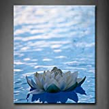 First Wall Art - Blue Artificial Water Lilly Floating On Blue Water Wall Art Painting Pictures Print On Canvas Flower The Picture For Home Modern Decoration (Stretched By Wooden Frame,Ready To Hang)